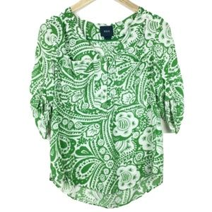 Anthro Maeve Green Mazie Printed Blouse